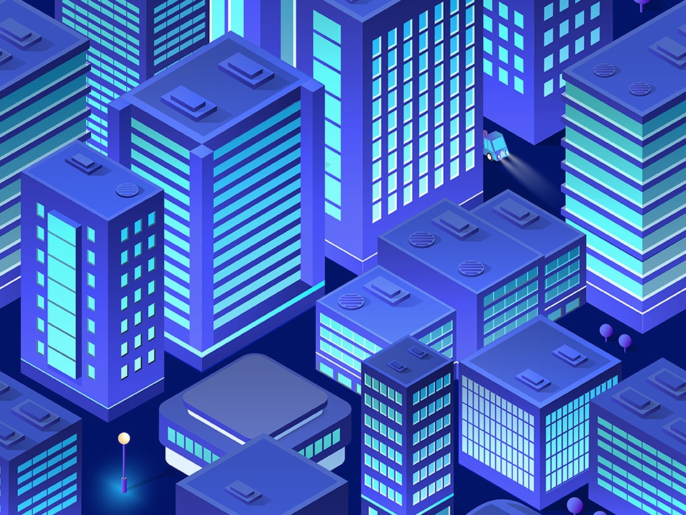 Isometric background city urban design ultraviolet city vector skyscrapers isometric design isometric building architecture 3d