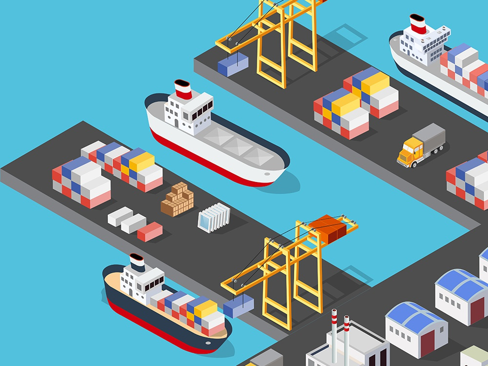 Isometric port cargo ship cargo seaport crane seaport transport port vector isometric design isometric city 3d