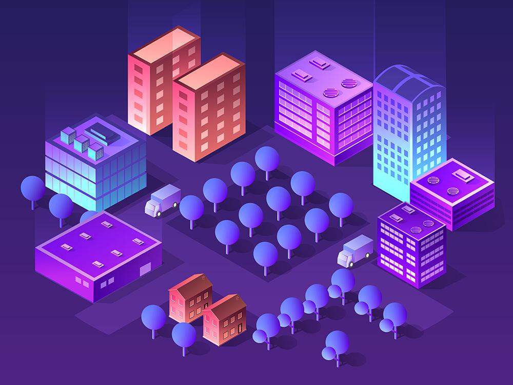 Violet colors 3d building urban ultraviolet skyscrapers building architecture vector isometric design isometric city 3d