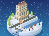 Winter  landscape urban isometric city