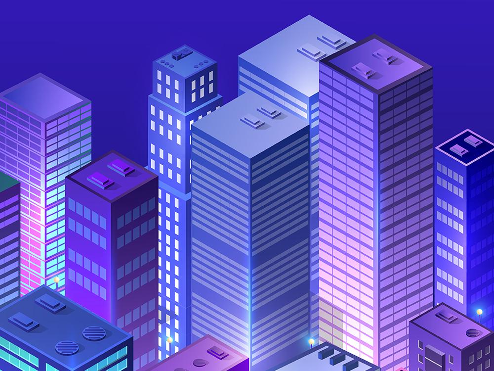 Cityscape 3d ultraviolet architecture urban illustration building skyscrapers ultraviolet architecture vector isometric design isometric city 3d