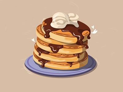 Pancakes time 🥞 art digitalillustration digital ice cream chocolate pancakes illustration
