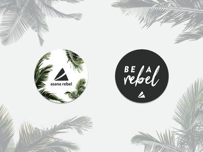 Asana Rebel's Guerrilla Stickers asana rebel premium yoga fitness design los angeles palm tree guerilla merchandise swag stickers branding art direction