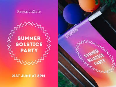 ResearchGate's Summer Solstice Party Poster visual identity summer solstice researchgate print poster party gradient fire event branding design culture branding art direction