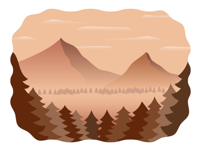 Monochrome Mountains brown flat design flat earth colors earth landscape simple nature trees illustrator vectors mountains monochromatic mono
