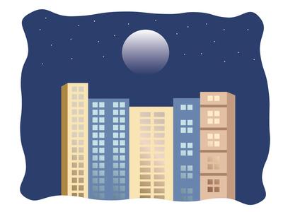 City Flat Design illustration skyline skyscraper stars flat flat design buildings moon nighttime night city