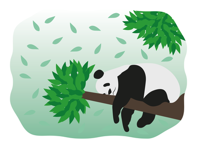 Sleeping Panda nature flat design vectors tree relax sleep animals illustration panda