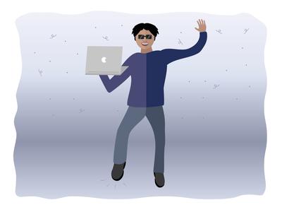 Happy Person flat design flat celebration celebrate graphic relaunch release jump happy developer adobe illustration vectors