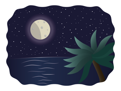 Moon and Ocean illustrator landscape nature graphic design flat illustration vectors reflection water flat design palm tree palms ocean moon