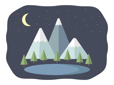 Mountains at Night graphic design illustrator illustration vectors flat design nighttime night lake mountains landscape