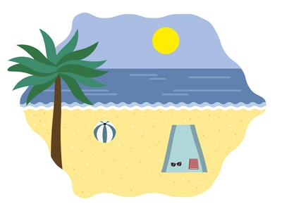 Beach adobe palm tree illustrator vectors illustration graphic design landscape flat design summer beach