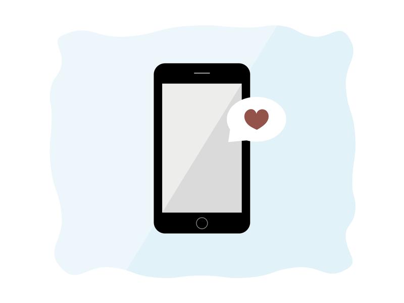 Phone modern vectors graphic design adobe simple love heart flat flat design illustration