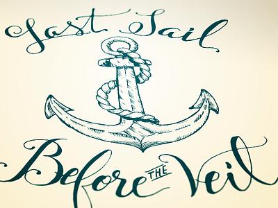 Last Sail hand lettering pen ink brush