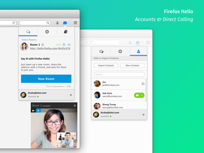 Firefox Hello — Rooms and Direct Calling browser window mozilla application firefox ux ui