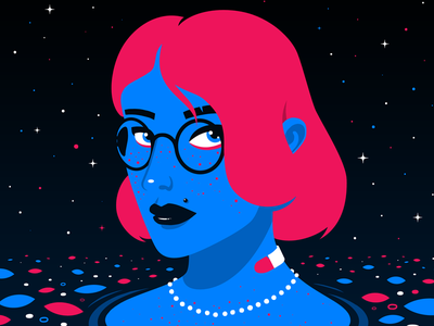Deep red bath pool ocean sea blue deep girl drawing art illustration