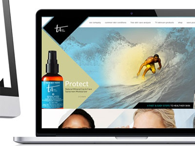 T4 Skincare web page flat ecommecre angles responsive site