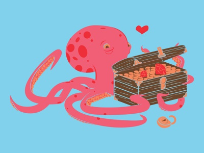 Lost treasure, found again. underwater shirt t-shirt flat illustration color octopus