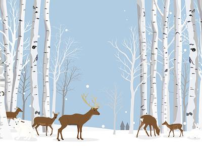 Animals in the white birch forest nature tree birch white fox rabbit deer design vector illustration wide snow winter forest animals