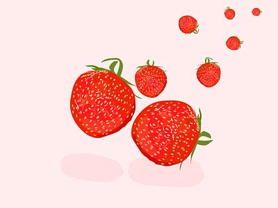 strawberry juicy juice fresh cute pop food fruits fruit nature vector branding icon イラスト web design logo illustration