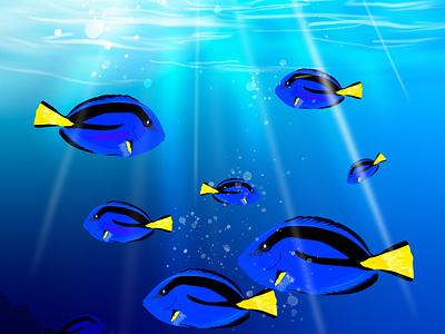 Blue Tangs painting brush swimming summer rock nature marine fun blue fish water aquarium tropical wave ocean sea logo vector design illustration