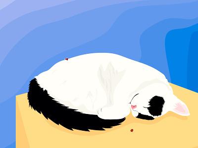 cat landscape sky nap sleep cats insect design ベクター ロゴ イラスト vector logo illustration cat
