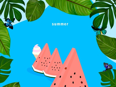 summer illustrations colorful sky vacation summer botanical nature pattern flower plant leaf fruits design creature ladybug butterfly insect vector ロゴ イラスト illustration