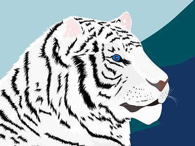 White Tiger symbol art picture jungle nature wildlife wild animals cat animal logo web design vector illustration