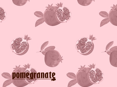Pomegranate pattern health pomegranate font color fresh food web logo vector illustration fruits nature pattern design