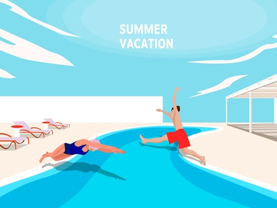 SUMMER VACATION memory scene landscape beach bench house sea clouds jump イラスト vector vacation water sky design illustration people pool summer