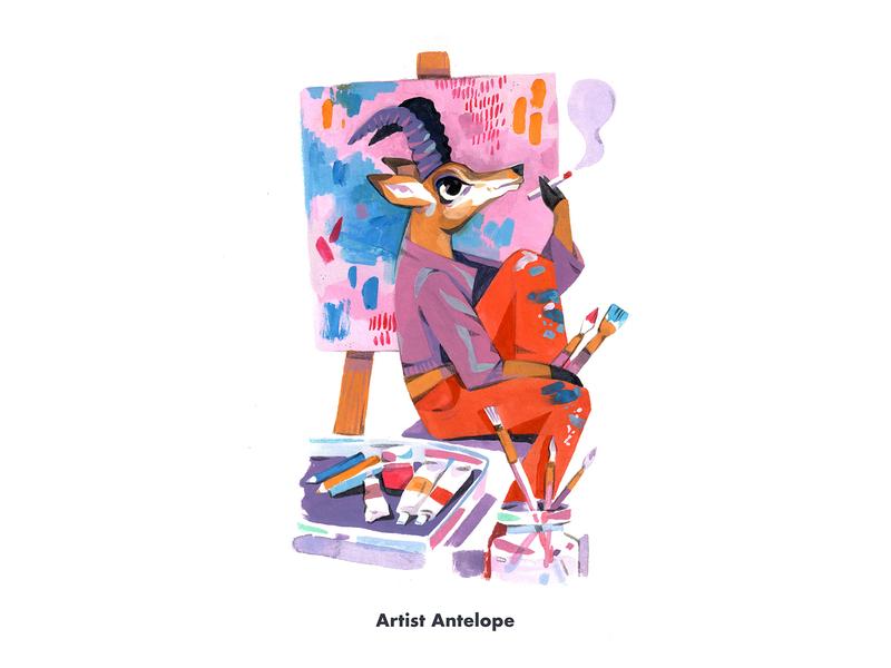 Artist Antelope character character design artist children book illustration antelope animal painting illustration