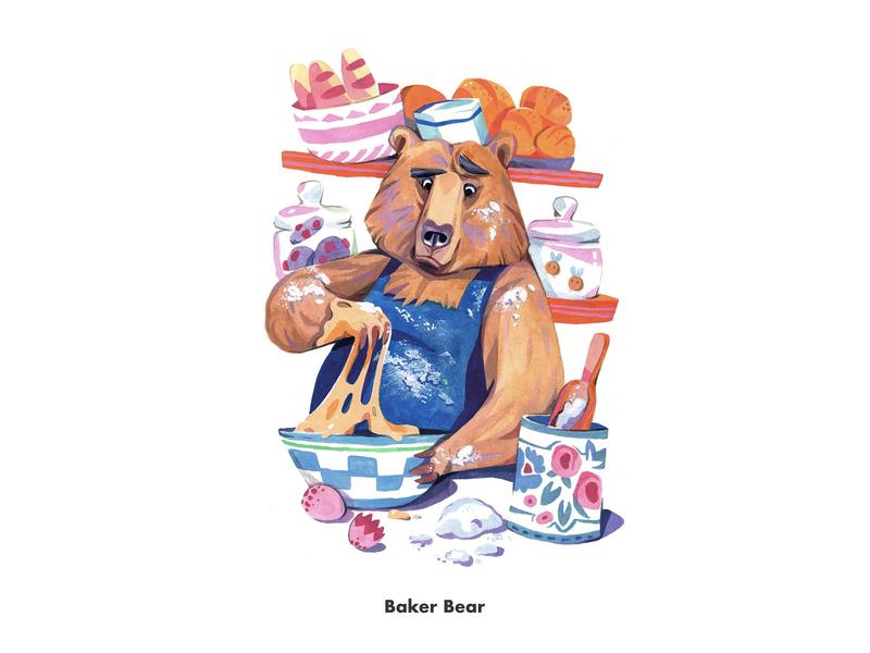 Baker Bear painting children book illustration character design character baker animal bear illustration