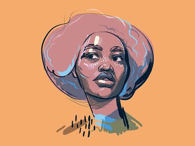 Portrait sketch portrait beauty girl editorial woman illustration