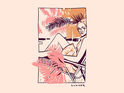 Summer fashion retro girl beauty plants summer editorial illustration editorial woman illustration