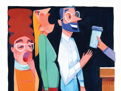 Coffee gouache painting people morning coffee editorial illustration urban city editorial illustration