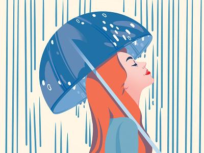 Rain editorial illustration girl editorial woman illustration rain