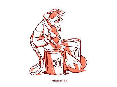 Firefighter Fox children book illustration firefighter character design fox animal illustration