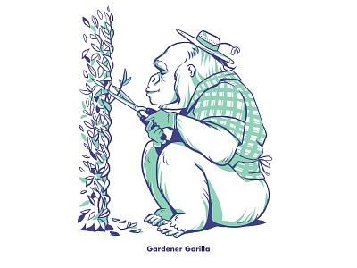 Gerdener Gorilla children book illustration gardener character design gorilla animal illustration