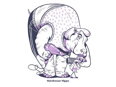 Hairdresser Hippo children book illustration charecter design hairdresser hippo animal illustration