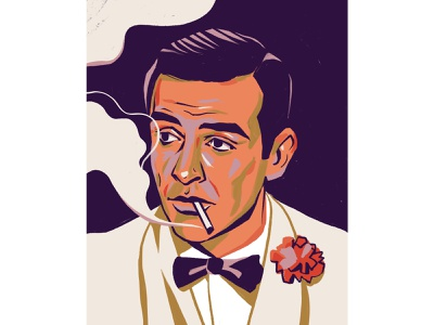 Sean Connery man actor james bond portait illustration portrait editorial illustration editorial illustration