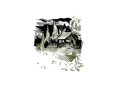 Lake sketch cabin landscape lake summer editorial illustration editorial illustration