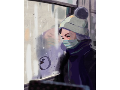 Maneater pandemic covid fun public transport city editorial illustration editorial woman illustration