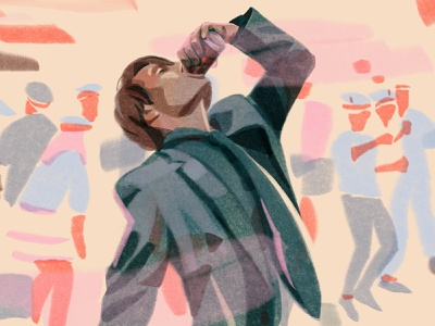 Another Round / Druk (original title), movie/2020 alcohol party actor mads mikkelsen movie editorial illustration editorial illustration