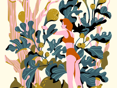 Figs garden forest leafs plants editorial illustration editorial procreate sun fruits fig nature beauty summer woman illustration