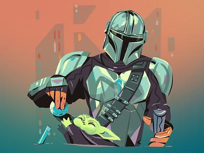 The Mandalorian fan art cute baby yoda space sci-fi sketch star wars mandalorian illustration