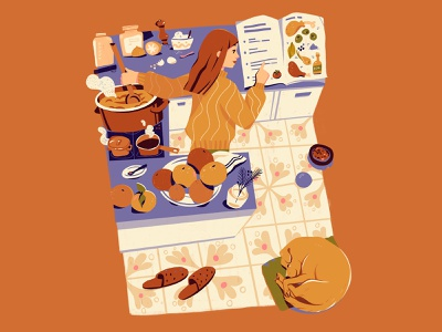 Christmas holiday orange cookbook christmas relax home woman illustration dog cooking kitchen food