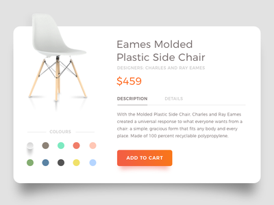 Herman Miller Eames Side Chair product card clean minimal ux ui card chair product