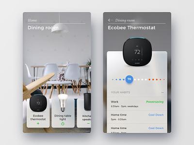 Smart home menu app booking blur ux ui navigation nav menu
