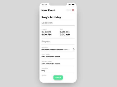 Calendar app event design clean minimalist iphone x ios app mobile calendar