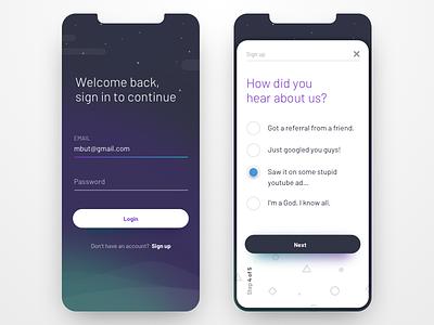Login / Sign up multi step iphone x minimal progress ux ui form sign signup sign up log in login