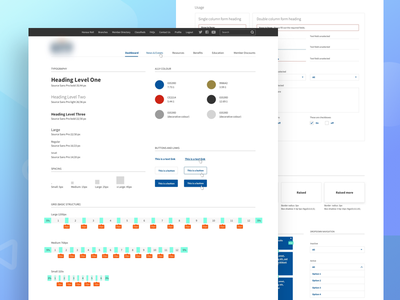 Design system (work in progress) color palette icon library pagination accordion hover button ui toolkit navigation style guide design system